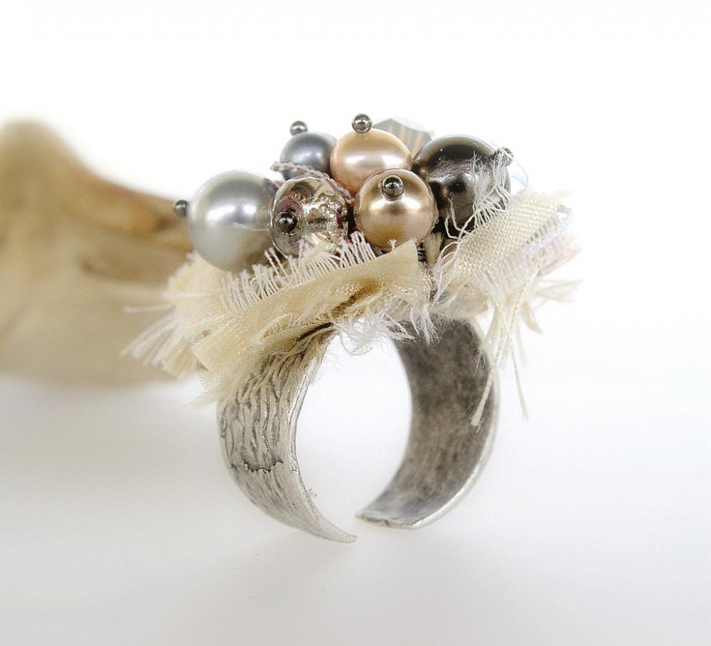 Swarovski pearls and crystals on adjustable antiqued silver ring