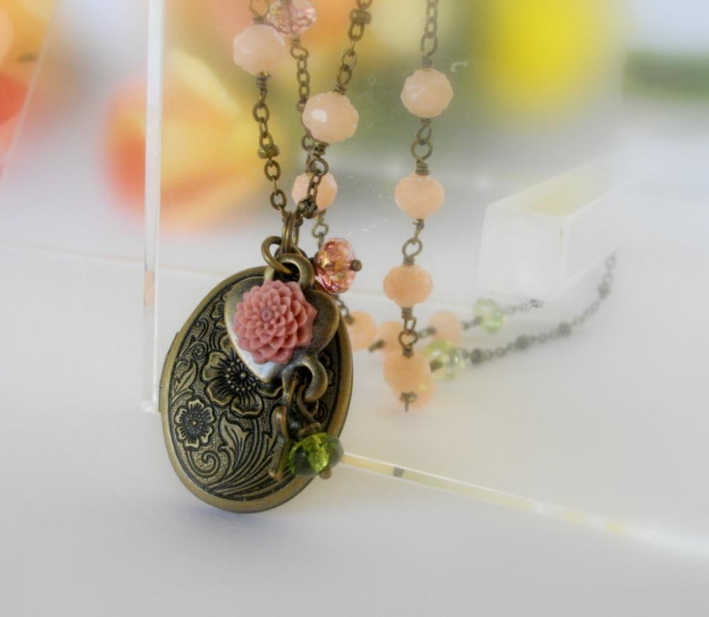 Antique bronze etched locket on beaded chain