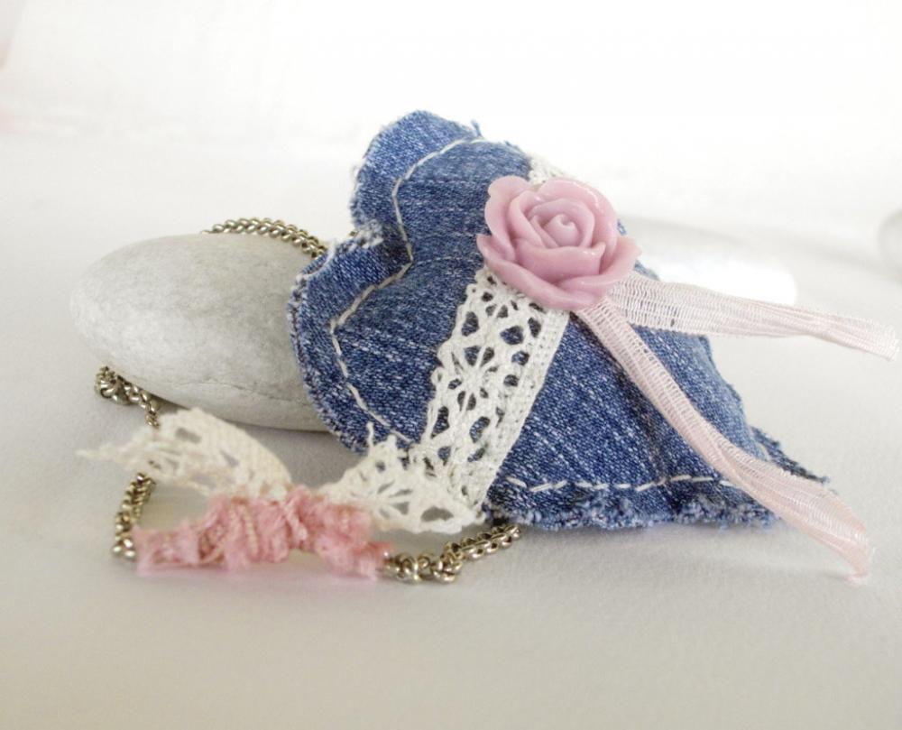 Romantic heart pendant Recycled denim