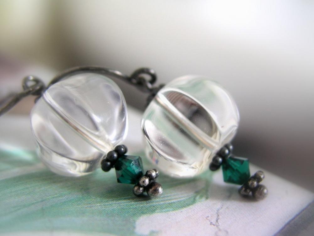 Earrings crystal pumpkin Clear quartz on oxidized steling silver earwires